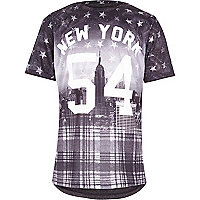 Boys grey tartan New York t-shirt