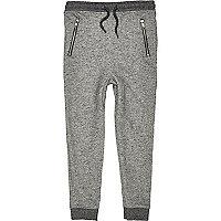 Boys grey marl drop crotch jogger