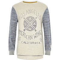 Boys stone and grey contrast print sweatshirt