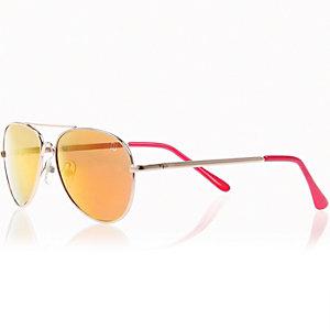 Boys gold frame aviator-style sunglasses