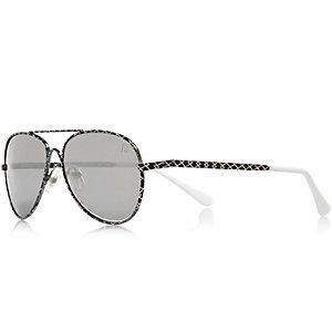 Boys black geometric print sunglasses