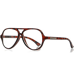 Boys brown clear lens fashion glasses