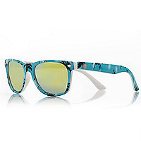 Boys blue palm tree print tinted sunglasses