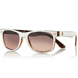 Boys white tinted lens sun glasses