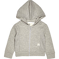 Mini boys grey jacquard quilted hoodie
