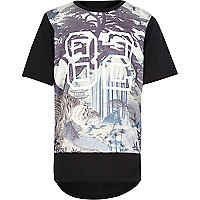 Boys black tiger print sports t-shirt