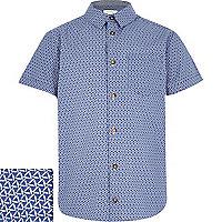 Boys blue patterned short sleeve shirt