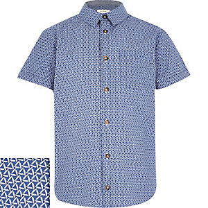Boys blue patterned short sleeve shirt