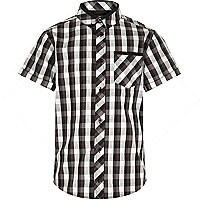 Boys black and white short sleeve check shirt
