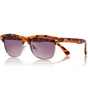 Boys brown tortoise shell retro sunglasses