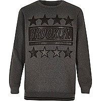 Boys grey Brooklyn faux leather sweatshirt
