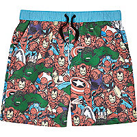 Boys blue Marvel print swim shorts