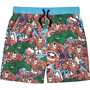 Boys blue Marvel print swim trunks