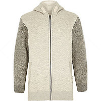 Boys stone quilted long sleeve hoody