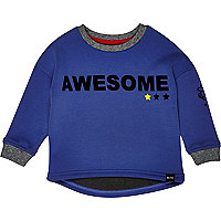 Mini boys blue awesome sweatshirt