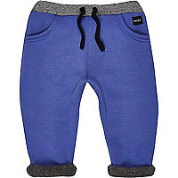 Mini boys bright blue fleece joggers