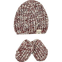 Mini boys red knit beanie and mitten set