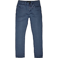 Boys blue medium wash skinny jeans