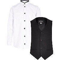 Boys white shirt and waist coat set