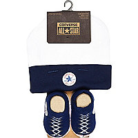 Mini boys navy converse hat and bootie set