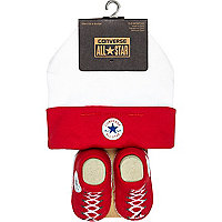 Mini boys red converse hat and bootie set