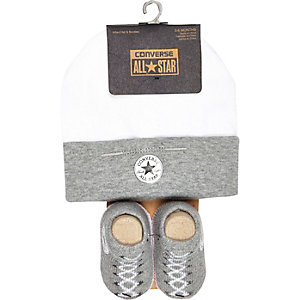 Mini boys grey converse hat and bootie set