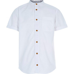 Boys white button up grandad shirt