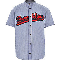Boys blue gingham applique Brooklyn shirt