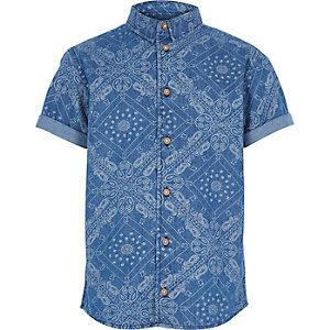 Boys blue ditsy bandana print shirt