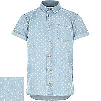 Boys denim triangle print shirt