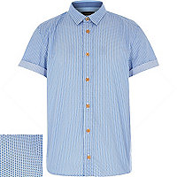 Boys blue printed short sleeve shirt