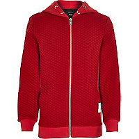 Boys red long sleeve quilted hoody