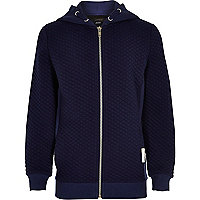 Boys navy long sleeve quilted hoodie
