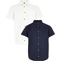 Boys white and navy oxford shirt 2 pack