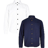 Boys white and navy oxford shirt set 2 pack