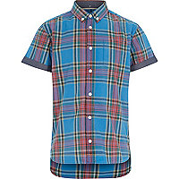 Boys blue check short sleeve shirt