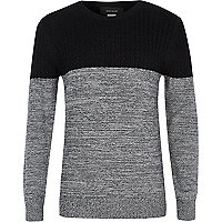 Boys black and grey cable jumper