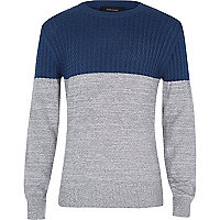 Boys blue and grey cable jumper