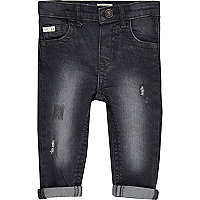 Mini boys dark grey rip jeans