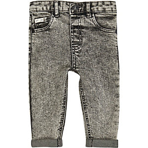 Mini boys grey acid wash jeans