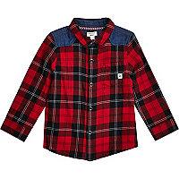 Mini boys red check and denimshirt