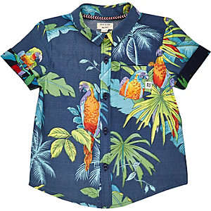 Mini boys navy parrot print shirt