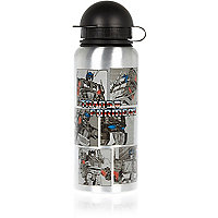 Boys silver transformers water bottle
