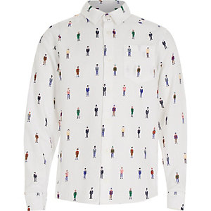 Boys white miniature man print shirt
