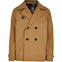 Boys tan double breasted mac coat