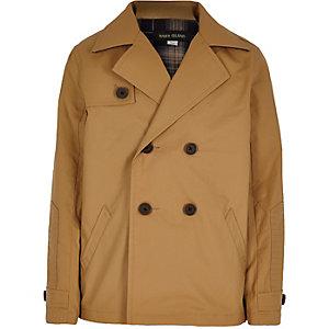 Boys tan double breasted mac coat