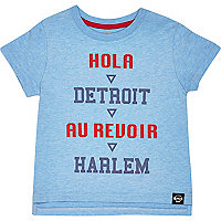 Mini boys blue hola print t-shirt