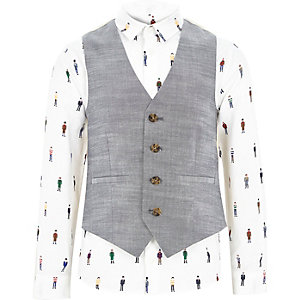 Boys white man print shirt and waistcoat set