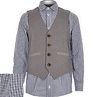 Boys blue gingham shirt and waistcoat set
