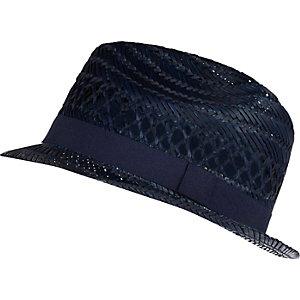Boys navy straw trilby hat